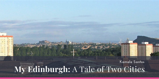 Edinburgh city skyline in the distance, between tower blocks, and Arthur's Seat hillside on the right.