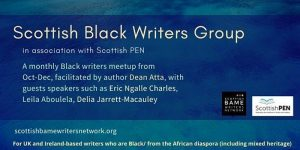 Scottish Black Writers Group, yellow text on blue background
