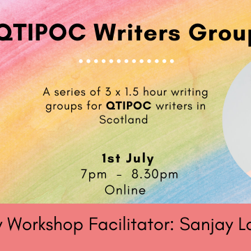 QTIPOC Writers Group. A series of 3 x 1.5 hour writing groups for QTIPOC writers in Scotland. 3rd June, 7pm-8:30pm. Online. July Workshop Facilitator: Sanjay Lago. Image: a man of South Asian descent (Sanjay) smiling and looking at the camera.