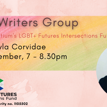 Photo of an Asian person with black hair and a black top, looking at the camera. Text: QTIPOC Writers Group. Funded by Consortium's LGBT+ Futures Intersections Fund. Thu 2nd September, 7-8:30pm. Online.