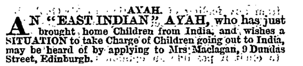 Newspaper advertisement from 1863 for an ayah.