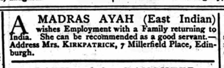 Newspaper advertisement from 1871 for an ayah.