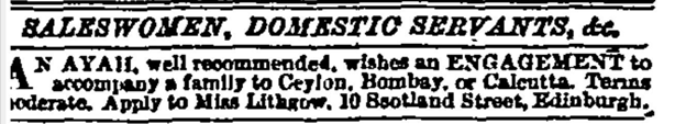 Image of a newspaper advertisement from 1886.