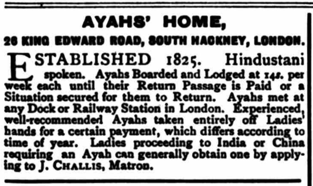 Image of a newspaper notice about the Ayahs' Home from 1903.
