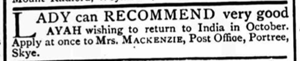 Newspaper advertisement for an ayah from 1883.